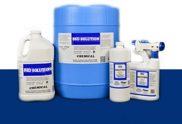 Blue and white galoon if SSD chemicals solutions